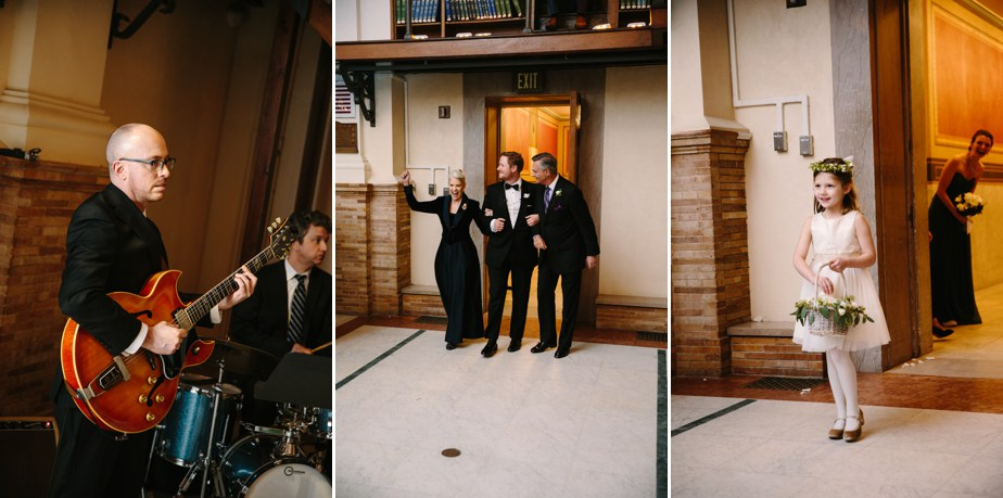groom enters ceremony at boston public library wedding