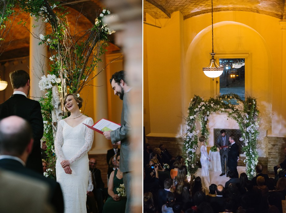 indoor ceremony for winter boston public library wedding