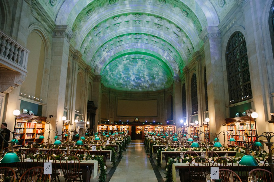 uplighting for winter boston public library wedding