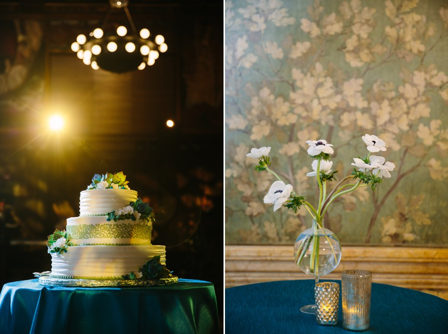green and white details for winter boston public library wedding
