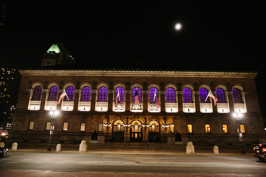 boston public library wedding at night